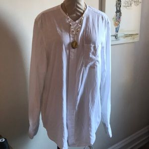 Tops - Collarless White Button Front Blouse